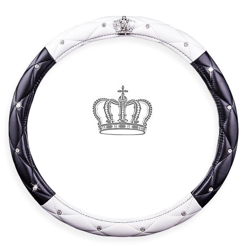 Housse de volant universelle sertie de diamants - Couvre-volant en cuir PU antidé rapant 38 cm pour femmes et filles. FrohLila Energie
