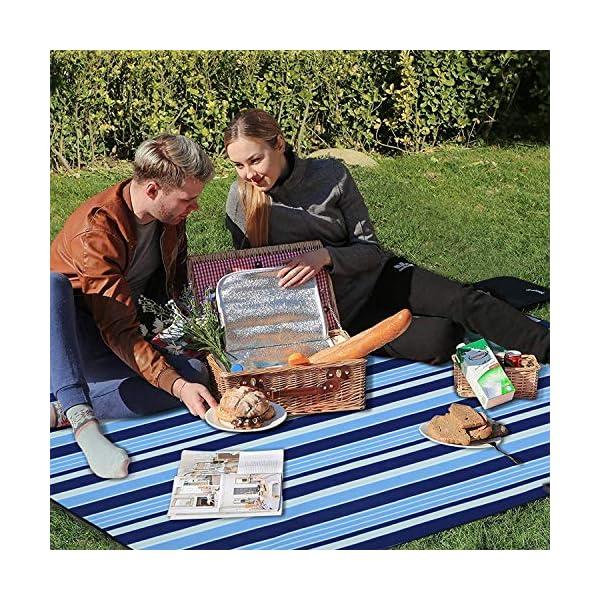 61dtdQOgbYL Wrei Picknickdecke, 200x200CM XXL Picknick Matte Outdoor Faltbare Stranddecke wasserdichte Sanddichte Campingdecke…