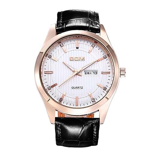 Hombres Lujo primera marca macho de Dom - Reloj de cuarzo para hombre de negocios Casual reloj de pulsera 50 m waterproof-white: Amazon.es: Relojes