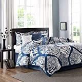 King Size Bed in a Bag Madison Park Vienna King Size Bed Comforter Set Bed in A Bag - Indigo Blue, Damask - 7 Pieces Bedding Sets - Cotton Bedroom Comforters