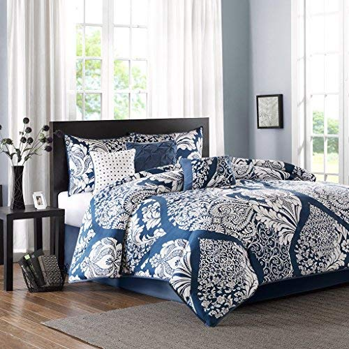 Madison Park Vienna Cal King Size Bed Comforter Set Bed in A Bag - Indigo Blue, Damask - 7 Pieces Bedding Sets - Cotton Bedroom Comforters