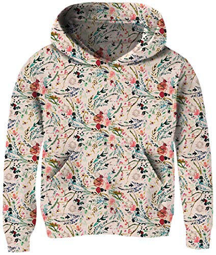 Big Girls Hoodie Sweater Size 9-12 3D Print Floral Hoodys Pullover Coat Fancy Novelty Flower for Elf Young Daughter Funny Cute Plain Long Sleeve Spring Loose Fit Coats with Front Pocket Casual Wear - Floral Girls Pullover