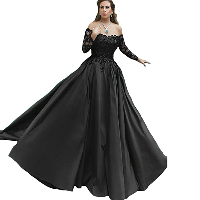 get new get cheap 2018 sneakers Fair Lady New Gorgeous Ball Gown Evening Dresses Black Appliques Long  Sleeves Formal Prom Dress Party Gown