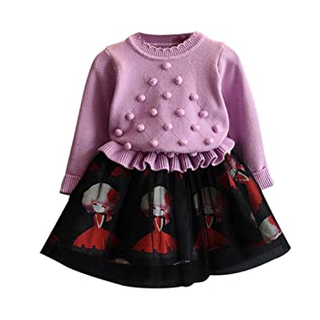PINEsong Baby Girls Strickpullover Set Kinder Winterrock Kleider ...