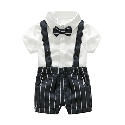 133ab39aaa57e Yilaku Baby Boys Gentleman Outfits Suits, Infant Short Sleeve Shirt+Bib  Pants+Bow Tie Overalls Clothes Set Outfit