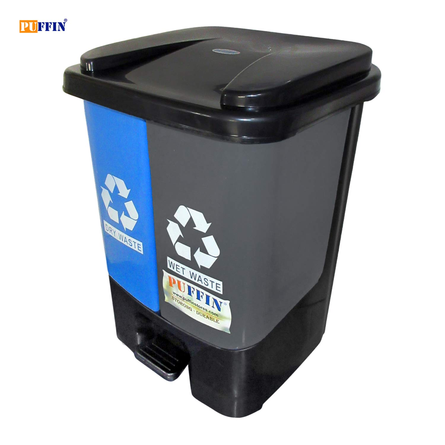 Puffin Garbage Waste Plastic Dustbin Kitchen Office Home & Commercial Dustbin Recycle Bin 2 in 1-20ltr
