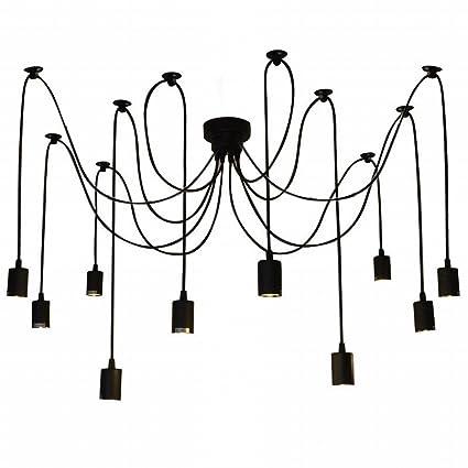 Lixada 10 Arms Chandelier Lamp Holder E27 Ceiling Pendant Lamp DIY Spider  Light Antique Classic Adjustable Dining Hall Bedroom Home Lighting