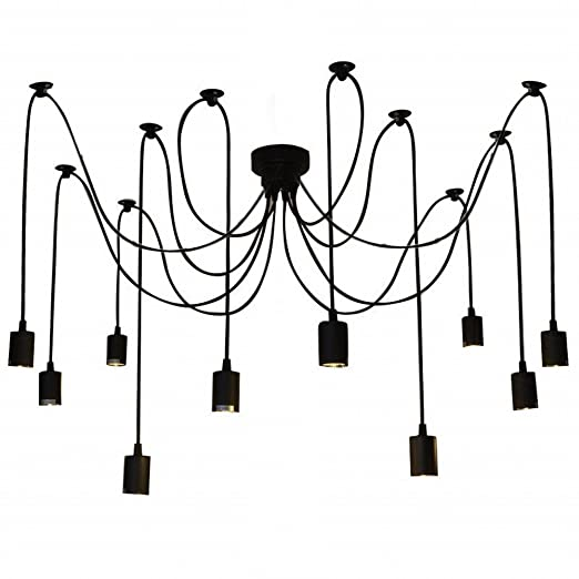 Lixada 10 Arms Chandelier Lamp Holder E27 Ceiling Pendant Lamp Diy