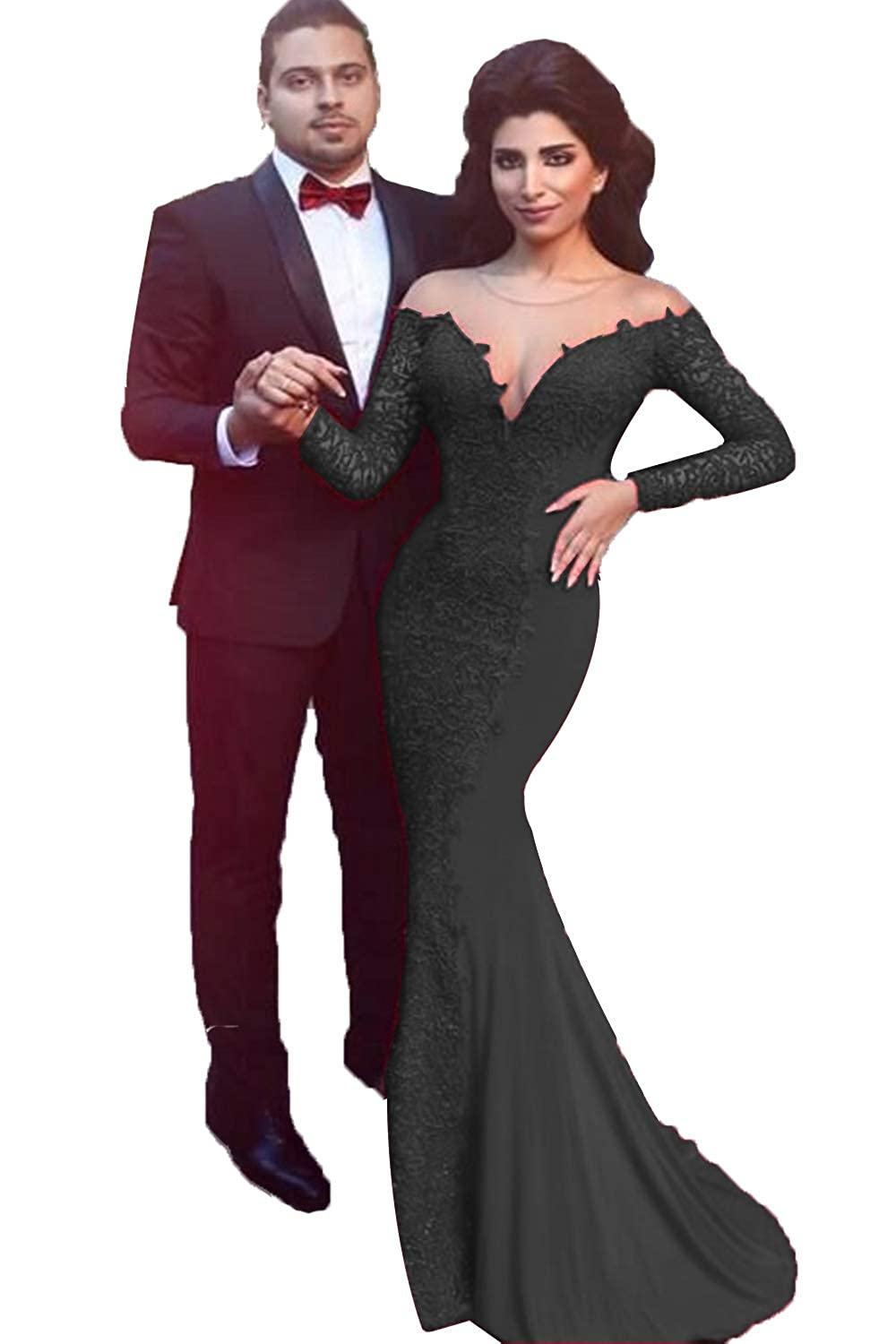 Black SDRESS Women's Lace Applique Mermaid Formal Dress Long Sleeve Illusion Neck Evening Gowns