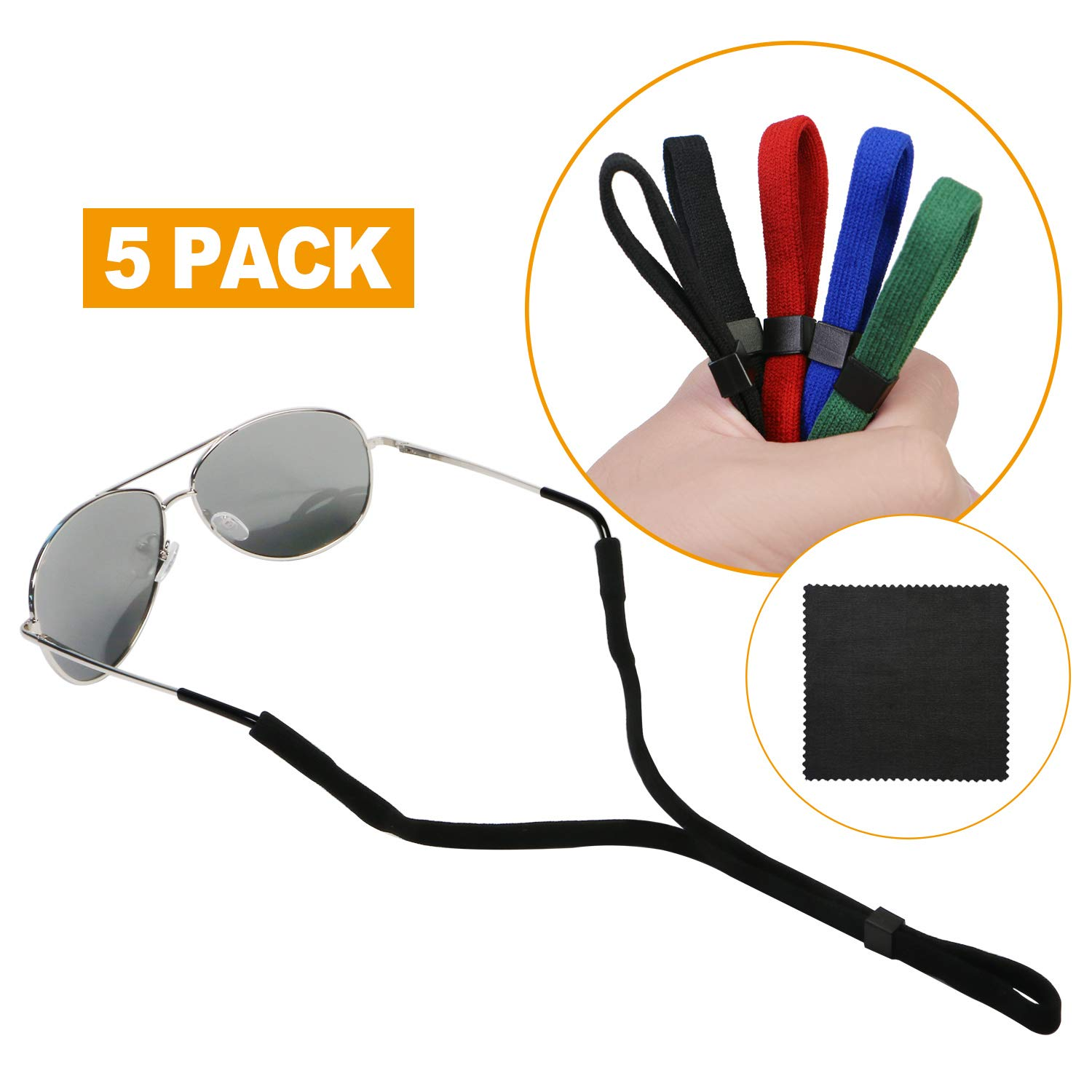 Aaskuu 5 Pack Glasses Straps, Float Eyeglasses and Sunglasses Adjustable Eyewear Retainer with Lanyards and Microfiber Cleaning Cloth by Aaskuu