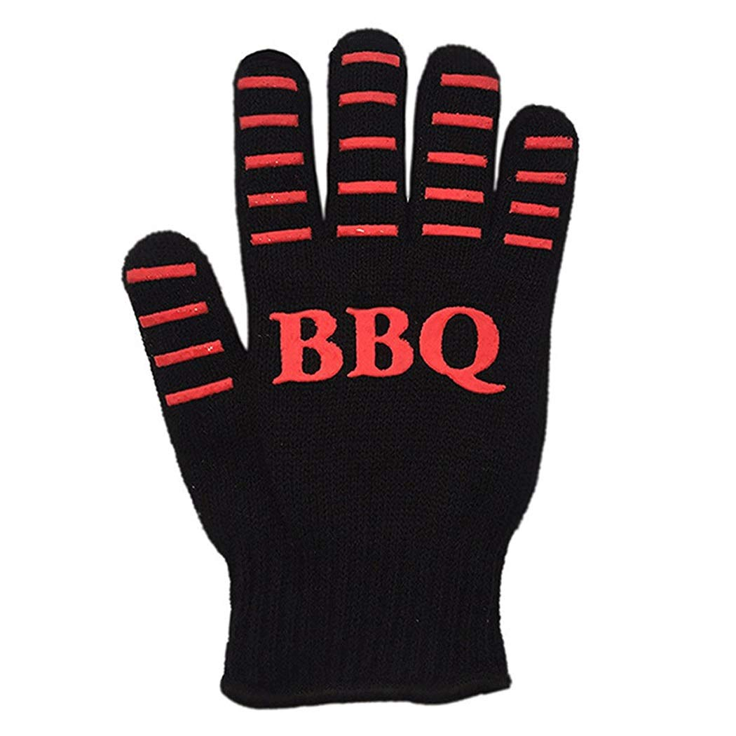 High Temperature Microwave Oven Cotton Gloves Oven Bbq Barbecue Insulation High Temperature Gloves Kitchen Baking Gloves (1 Pair) (Color : Black, Size : 26cm)