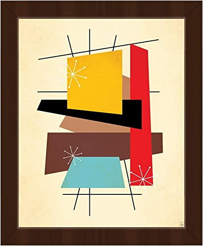 Retro Thoughts VI  Mid-Century Retro Modern Postmodern Geometric Shapes Abstract Painting Drawing Illustration Wall Art Print on Canvas
