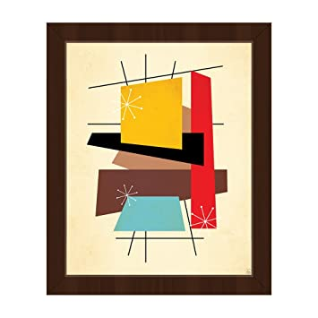 Retro Thoughts Vi Mid Century Retro Modern Postmodern Geometric Shapes Abstract Painting Drawing Illustration Wall Art Print On Canvas With Espresso