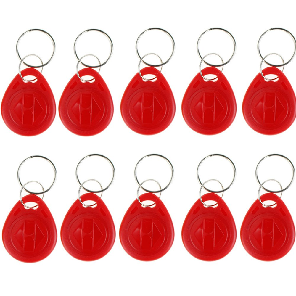 OBO Hands 10pcs Proximity EM4100 EM4102 125KHz RFID EM-ID Card RFID Key Chain Keyfob Read Only (Black)