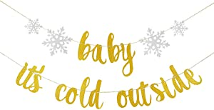 Gold Glittery Baby It's Cold Outside Banner - Winter Snowflake Baby Shower Party Decorations,Kids Birthday Party Decor,Winter Christmas Holiday Theme Party Decor