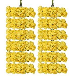 144pcs Artificial Paper Rose Flower Buds Mini Bouquet Party Decor- Yellow 1