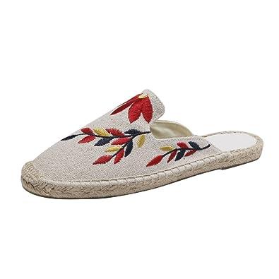 Jitong Bestickt Flache Espadrilles für Frauen Sommer Low-Top Slippers Geschlossene Zehe Freizeit Loafers (Beige #1, Asien 35)
