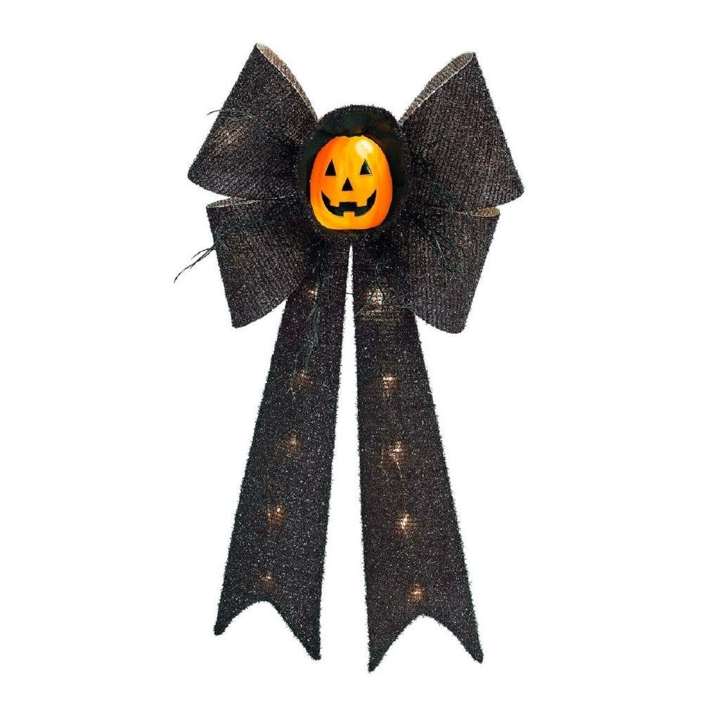 Halloween Hanging Wall / Door Decoration Lighted 26 in. Battery-Operated LED Tinsel Black Bow with Orange Pumpkin Face