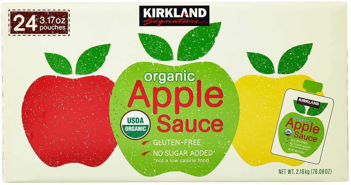 Kirkland Signature Organic Gluten-Free No Sugar Added Applesauce: 24 Count (3.17 oz.) - PACK OF 2