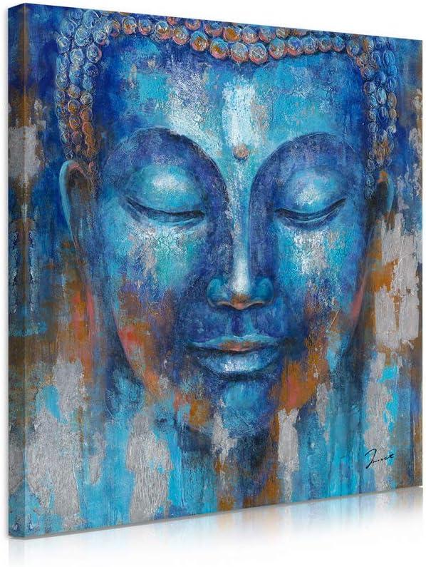 B BLINGBLING Buddha Head Wall Decor: Indigo Blue Buddha Giclee Prints on Canvas Decorations for Living Room Office Wall Decor Buddha Wall Art Easy Hanging with Frame (12