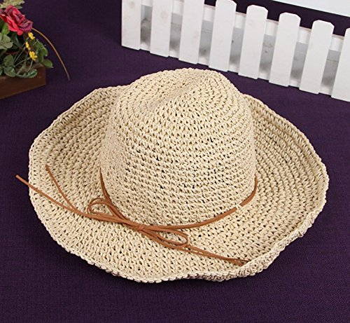 Leisial Foldable Straw Hat Sun Beach Hat for Women