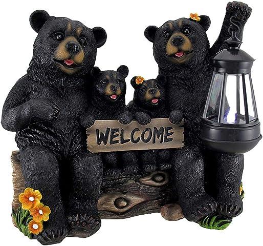 DWK Beaming Bears Welcome Statue w/Solar LED Lantern