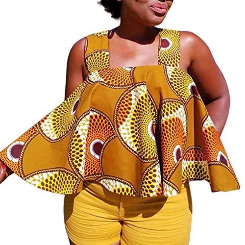 Oksale® Women African Print Tee Shirt Sleeveless Tops Strapless Blouse Plus Size T Shirt (Coffee, L)