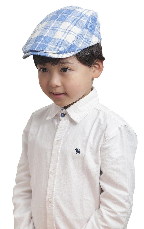 AOYOMO Sun Protection Boys Children Kids Lattice Beret Cap Flat Hat