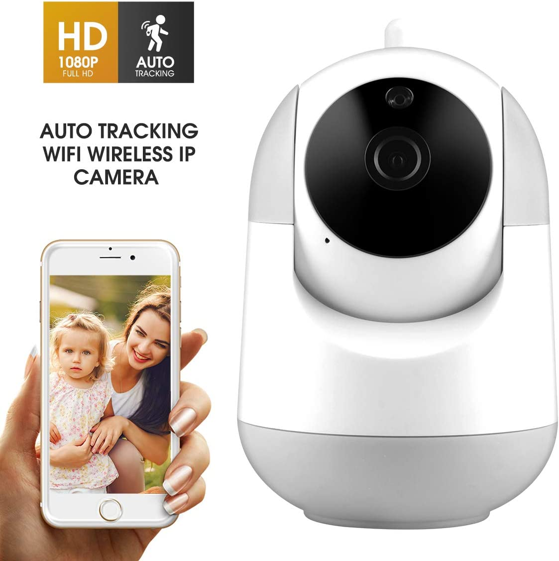 WiFi IP Camera 1080P FHD with Smart Night Vision Motion Detection 2 Way Audio Pan Tilt Zoom 2.4Ghz Wireless Home Security Surveillance Dome Camera for Baby,Pet,Elder,Nanny Monitor
