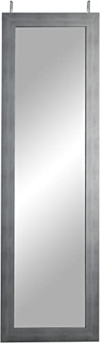 BrandtWorks, LLC BM40THINH Cool Muted Silver Over The Door Full Length Mirror, Brushed
