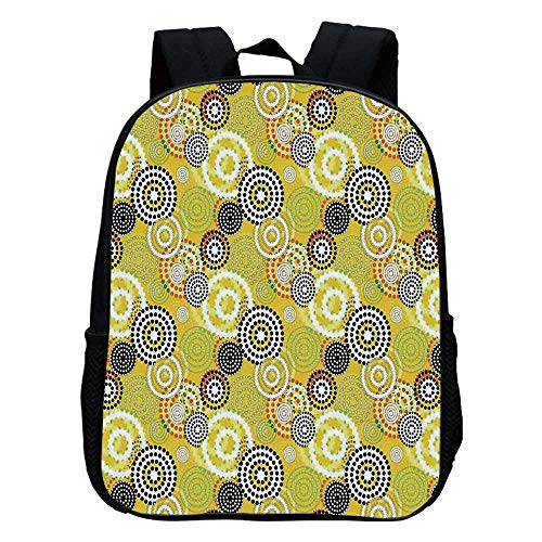 Geometric Decor Durable Kindergarten Shoulder Bag,Retro Unusual Psychedelic Ring Shaped Dots and Spots in Various Colors Image For school,11.8