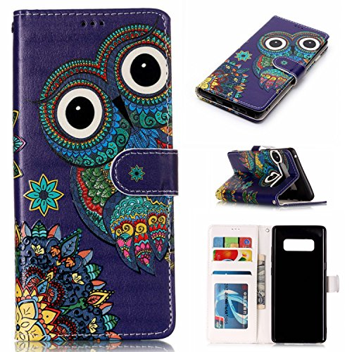 DAMONDY Galaxy Note 8 Case, 3D Wallet Shiny Relief Stand Purse Card ID Holders Design Flip Cover TPU Soft Bumper PU Leather Magnetic for Samsung Galaxy Note 8 2017-Blue Owl