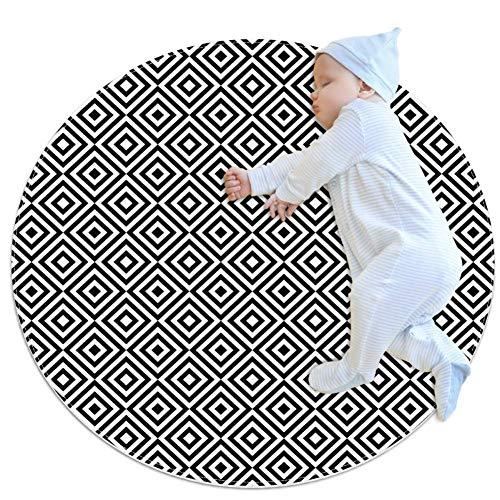 (LORVIES Square Diagonal Concentric Pattern Round Area Rug Art Deco Non-Slip Backing Rug Foam Mat Living Room Bedroom Study Children Playroom Super Soft Carpet Floor Mat 2.3-Feet Diameter )