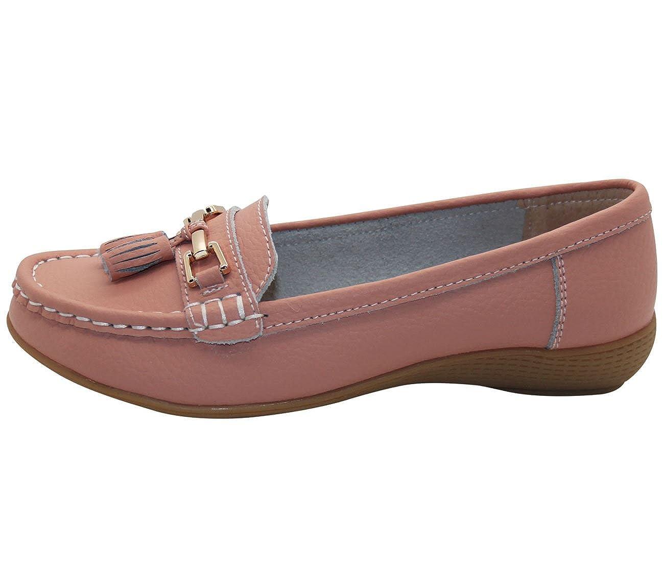 Jo & Joe Zapatos planos para mujer de piel con borlas, de estilo mocasín y marinero, color Azul, talla 37 1/3