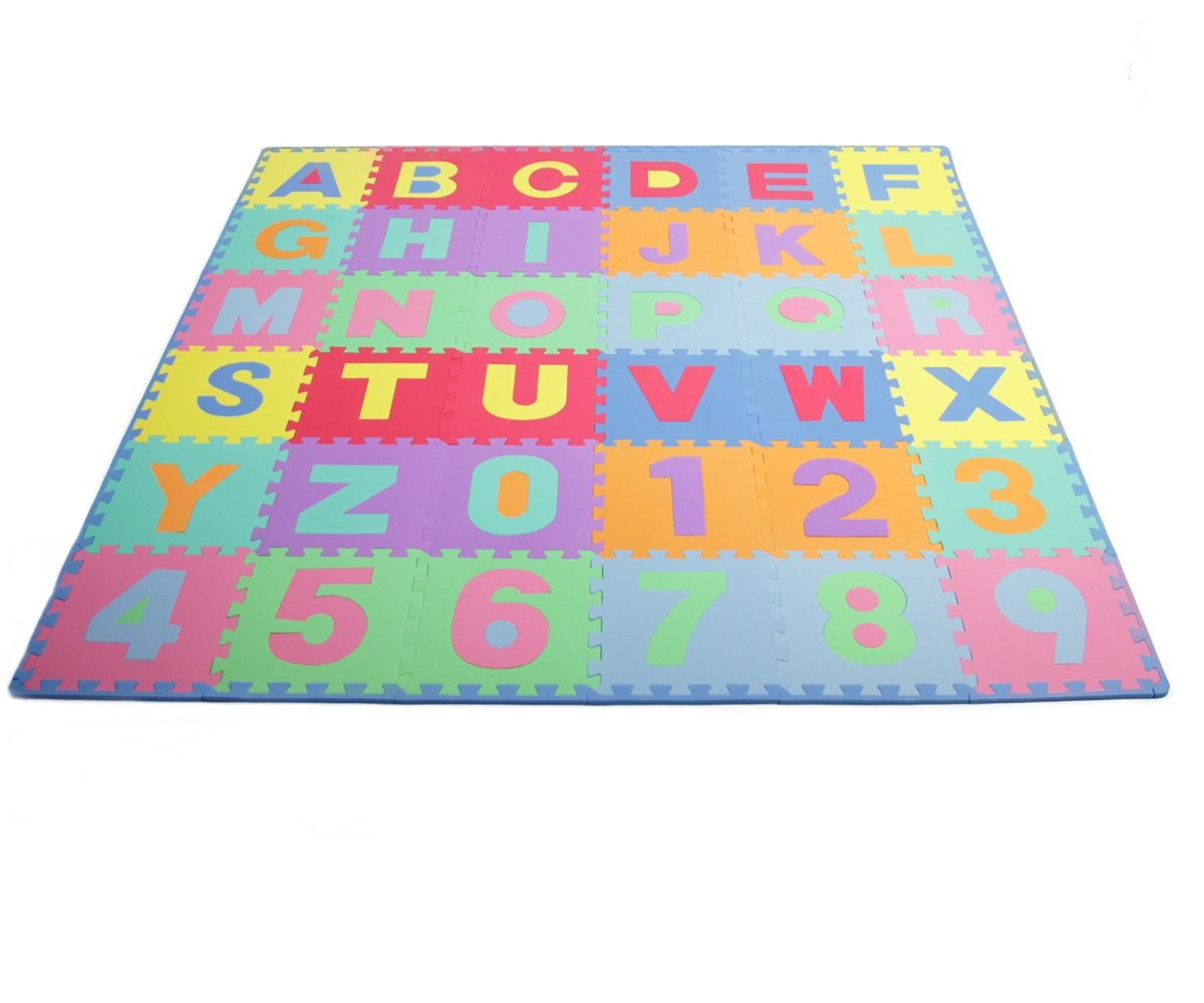 ProSource Kids Puzzle Alphabet, Numbers, 36 Tiles and Edges Play Mat, 12'' by 12''