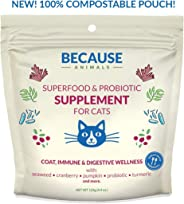 Because Animals Superfood & Probiotic Supplement for Cats (4.4oz) – All-Natural, Human-Grade Ingredients – With Vitamins, Min
