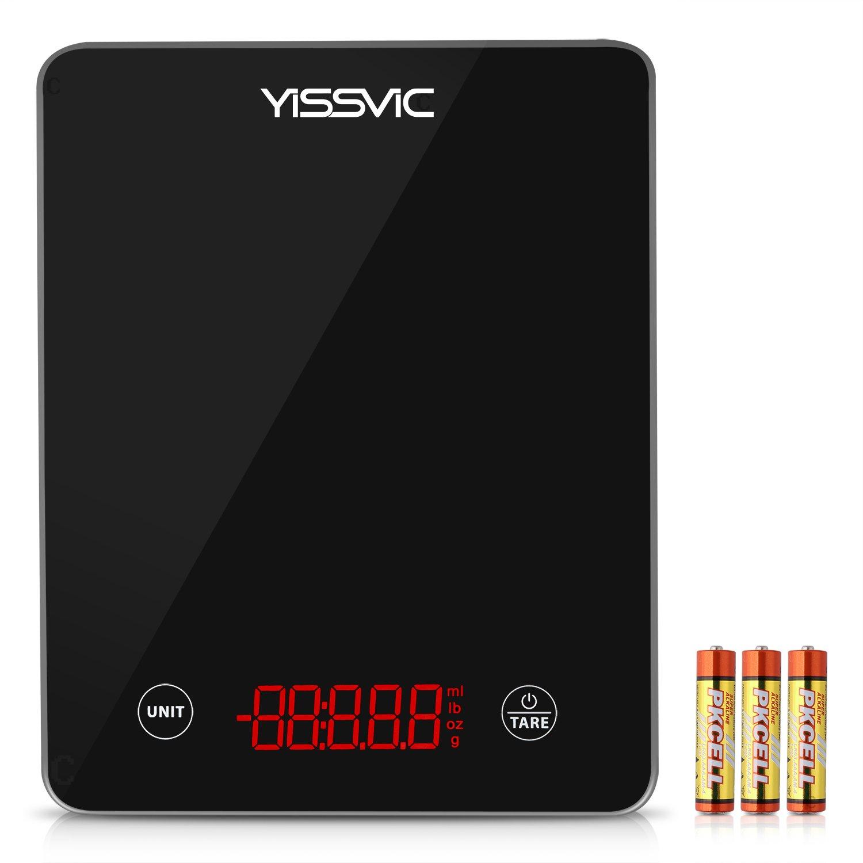 Yissvic Báscula Digital para Cocina de LED y Vidrio Templado Balanza de Cocina Pesa Digital Cocina Entre 3g ~ 5KG Negro