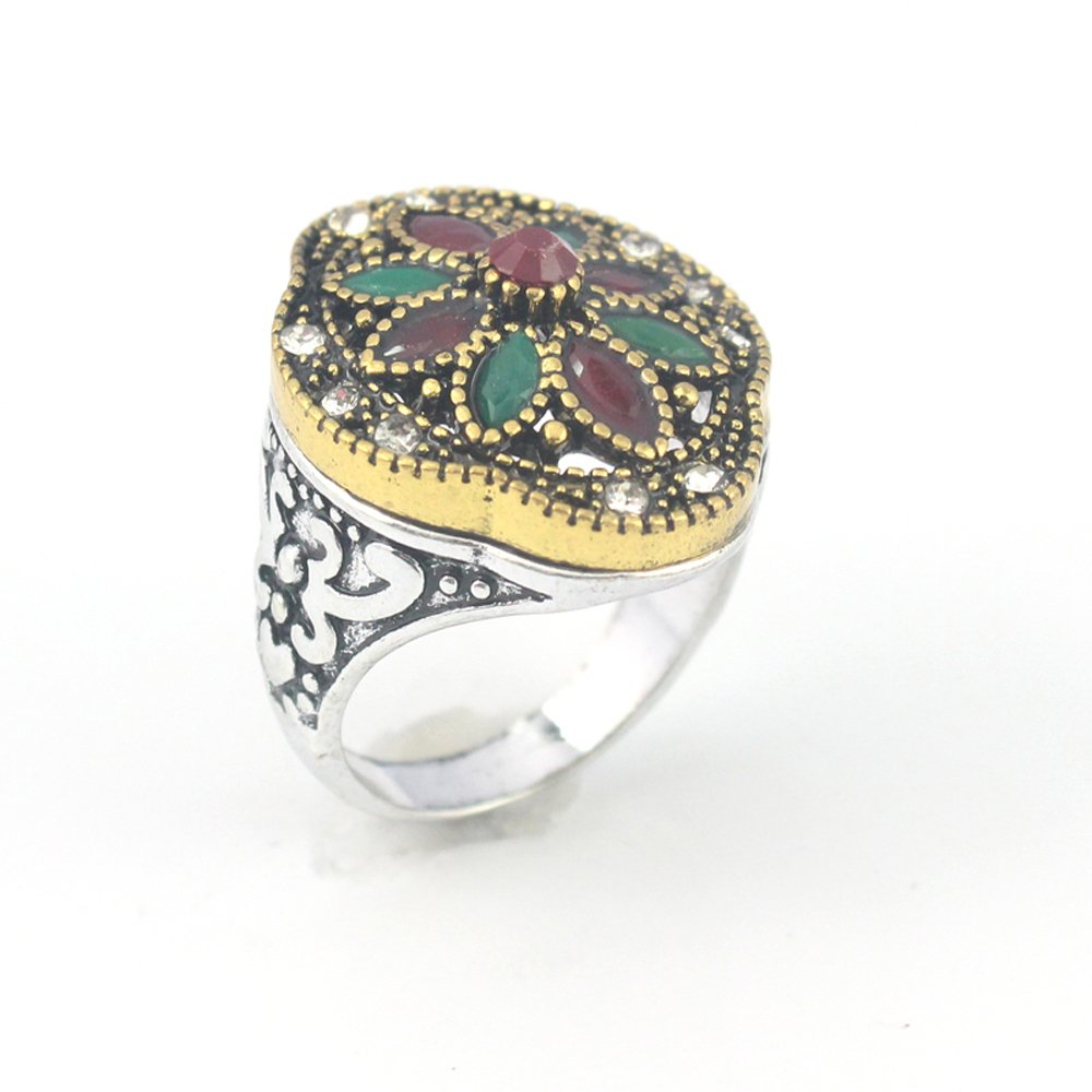 silverjewelgems Emerald Ruby Victorian Jewelry Silver Plated and Brass Ring 9 S23848