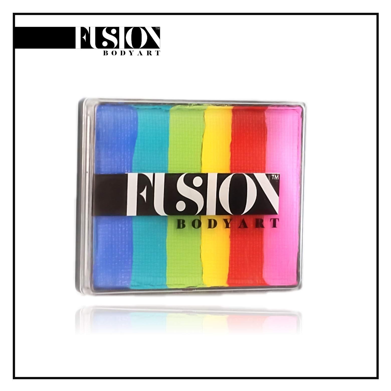 FUSION BODY ART Pro Quality Professional Water Based Face Paint Rainbow Cake - Bright Rainbow 50gr | Hypoallergenic Safe & Non-Toxic - Easy to Painting and Washing | US FDA and EU compliant by FUSION BODY ART