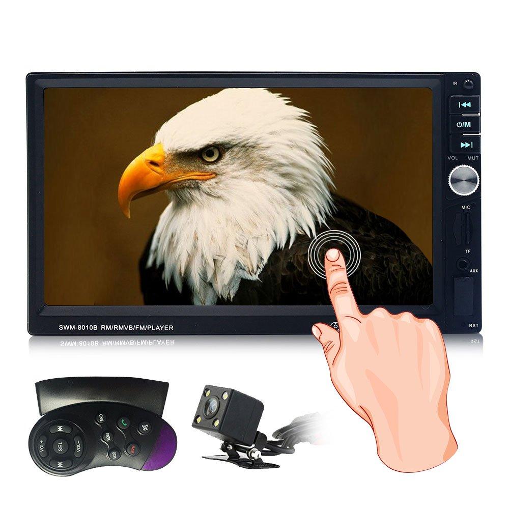 ダブルDINカーステレオ、7インチのタッチ画面車ラジオメディアプレーヤーサポートBluetooth /背面カメラ/ステアリングホイール/ USB / TF withリモートコントロール B078R8W8K7  8010B