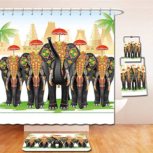 Jellyfish Costume Using Umbrella (Beshowereb Bath Suit: Showercurtain Bathrug Bathtowel Handtowel Ethnic Elephants in Traditional Costumes with Umbrellas Indian Ceremony Ritual Graphic Multicolor)