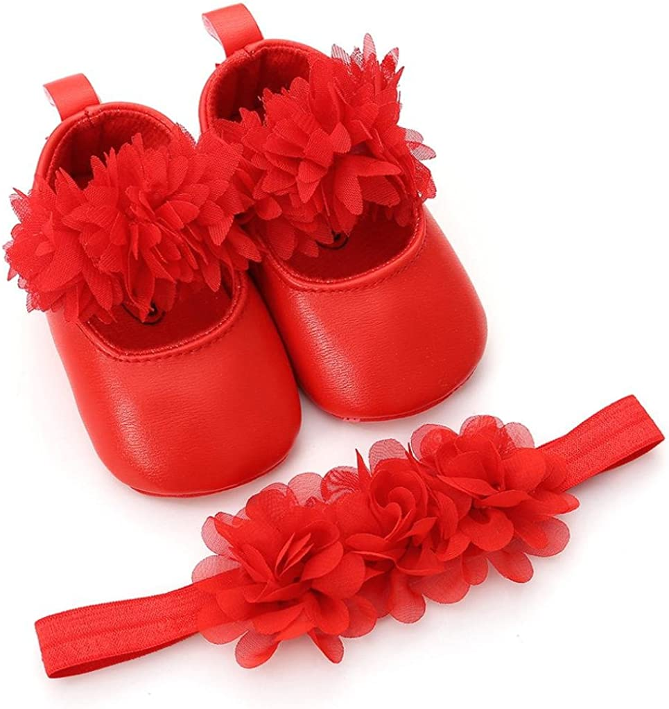 WARMSHOP Boys Girls Soft Sole Floral Princess Mary Jane Shoes PU Leather First Walker Wedding Dress Shoes+1PC Hairband