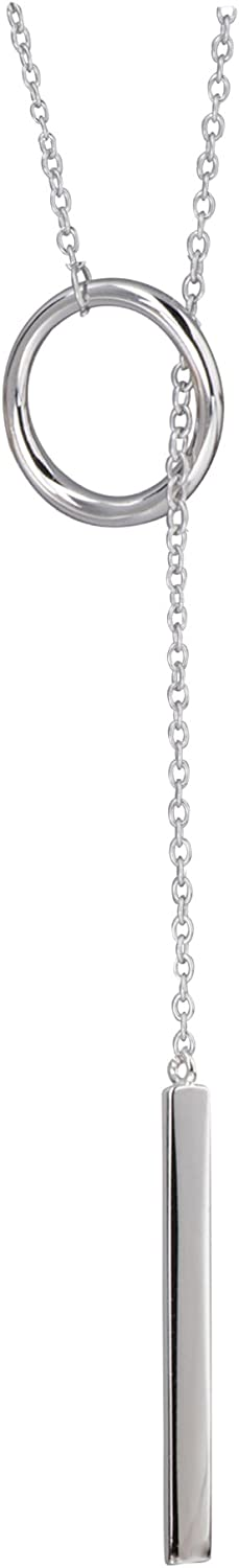 S.Leaf Sterling Silver Lariat Bar Necklace Open Circle Y Necklace Vertical Bar Looped Long Necklace (Silver, 58)