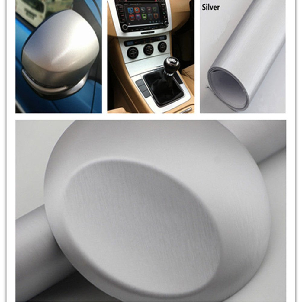 HOHO Brushed Aluminum Metal Steel Vinyl Wrap Silver Sticker Film Bubble Free DIY 60''x98ft Roll