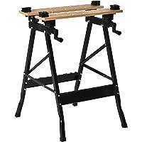 HOMCOM Banco de Trabajo Plegable Portátil con Tableros Ajustables en Ángulo y Distancia Bambú y Acero Carga Máx. 150 kg…