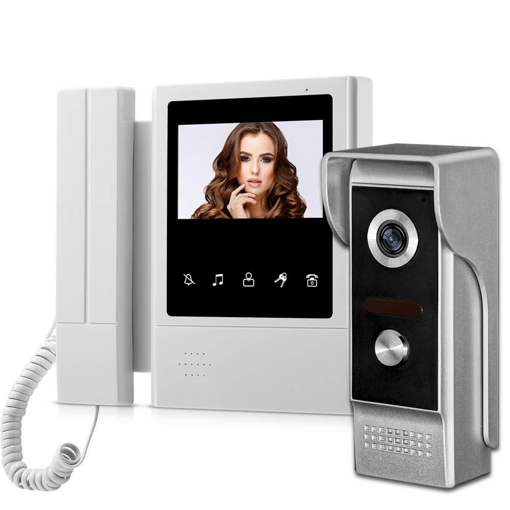 uoweky Portatif 4.3Moniteur Vid/éo Interphone Moniteur de Porte Syst/ème de T/él/éphone de Porte /Étanche Sonnette Cam/éra D/éverrouiller Moniteur Interphone