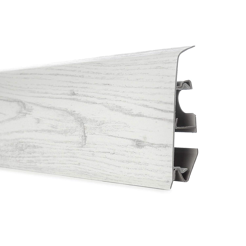 Endst/ück links 70mm PVC Eiche Pastel Laminatleisten Fussleisten aus Kunststoff PVC Laminat Dekore Fu/ßleisten DQ-PP