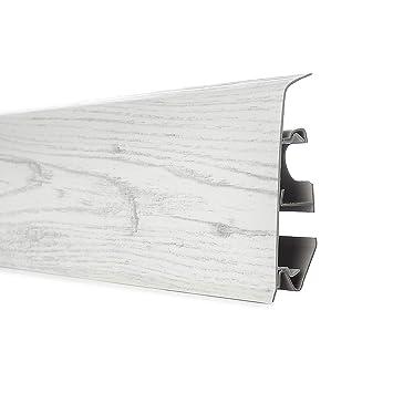 2,5m Sockelleisten EICHE CHILLOUT Fussleisten 70mm Kunststoff mit Kabelkanal PVC