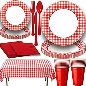 Picnic Party Supply Set for 16. Includes Classic Red Gingham Plastic Tablecloth, Large and Small Gingham Paper plates and Coordinating Red Napkins, Cutlery and 18 oz Plastic Party Cups
