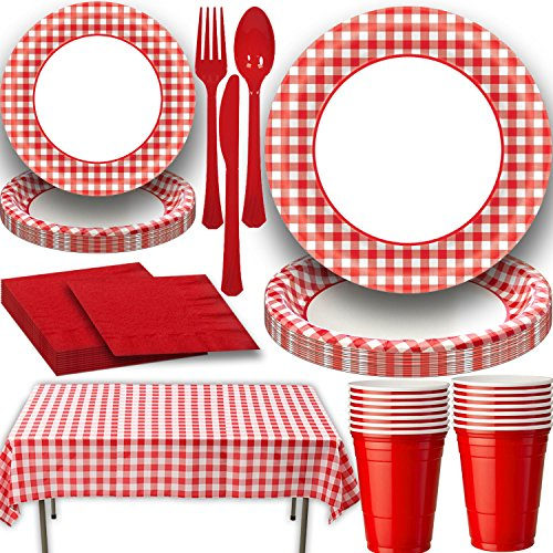 Picnic Party Set - Picnic Party Supply Set for 16. Includes Classic Red Gingham Plastic Tablecloth, Large and Small Gingham Paper plates and Coordinating Red Napkins, Cutlery and 18 oz Plastic Party Cups